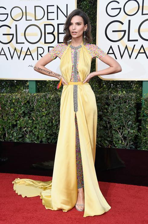 مدل لباس امیلی راتاجکوسکی Emily Ratajkowski در مراسم گلدن گلوب 2017