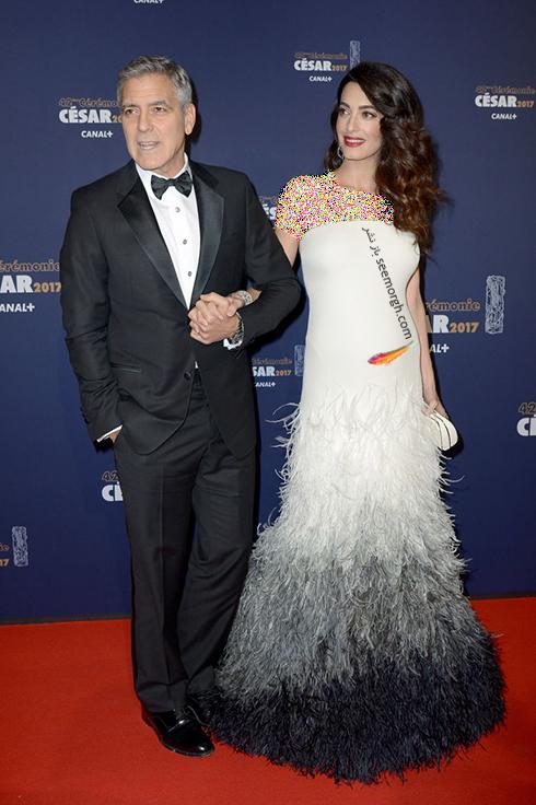 مدل لباس بارداری امل کلونی Amal Clooney روی فرش قرمز - عکس شماره 1