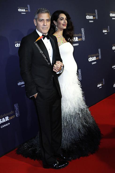 مدل لباس بارداری امل کلونی Amal Clooney روی فرش قرمز - عکس شماره 3