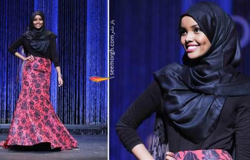 حلیمه ایدن با حجاب اسلامی,  دختر با حجاب در مراسم انتخاب دختر شایسته , دختر شایسته آمریکا , دختر محجبه در دختر شایسته آمریکا