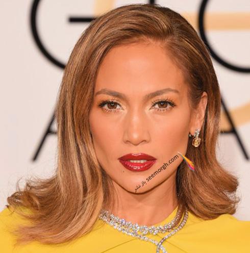 آرایش جنیفر لوپز Jennifer Lopez در مراسم گلدن گلوب 2016 Golden Globe