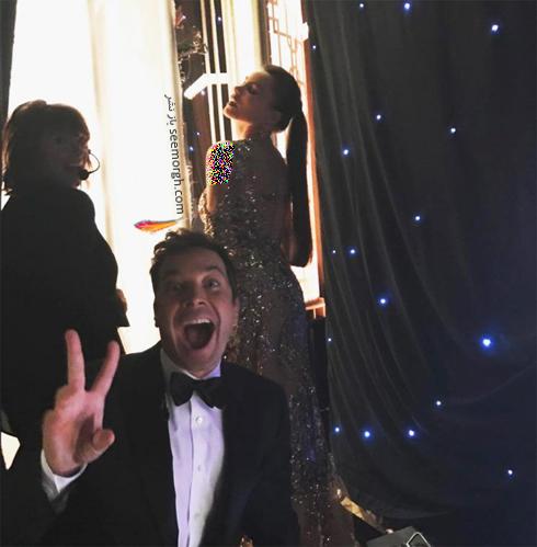 سوفیا ورگارا Sofia Vergara و جیمی فالون Jimmy Fallon در حال آماده شدن برای مراسم گلدن گلوب 2017 Golden Globe