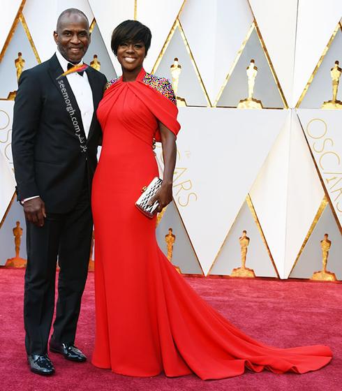 جولیس تنون Julius Tennon و وایولا دیویس Viola Davis در مراسم اسکار 2017 Oscar