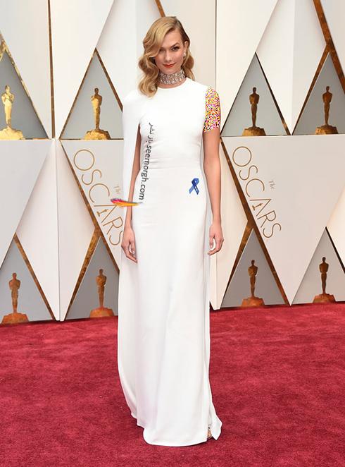 لباس کارلی کلوس Karle Kloss طراحی شده توسط تام فورد Tom Ford در اسکار Oscar 2017
