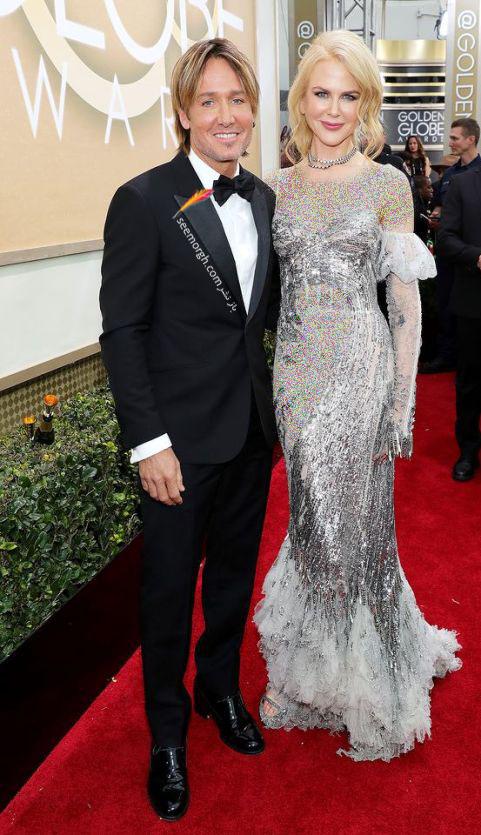 گلدن گلوب 2017: نیکول کیدمن 49 ساله و همسرش برروی فرش قرمز