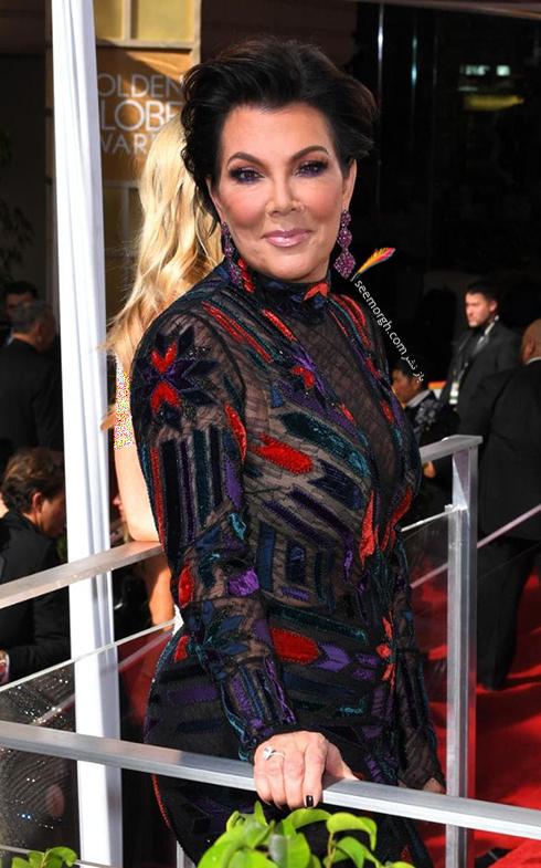 مدل لباس کریس جنر Kris Jenner در مراسم گلدن گلوب 2017