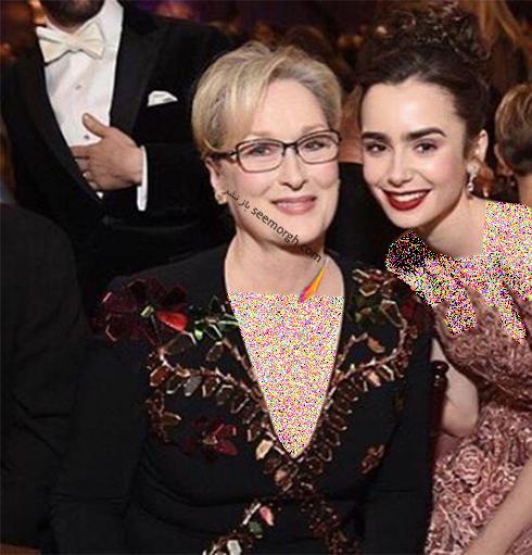 لیلی کولینز Lily Collins و مریل استریپ Meryl Streep در حال آماده شدن برای مراسم گلدن گلوب 2017 Golden Globe
