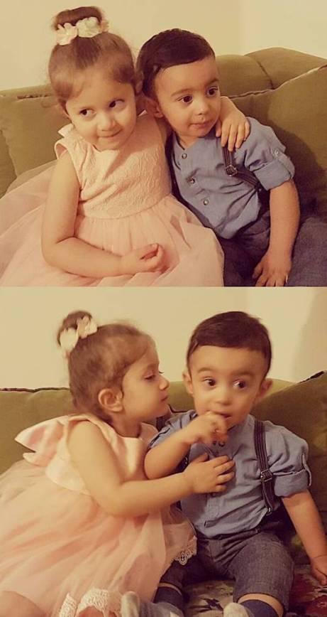 پسر ماه چهره خلیلی در کنار دختر شاهرخ استخری