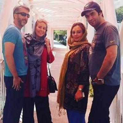 منوچهر هادی در کنار همسرش یکتا ناصر و خواهر زن و باجناقش