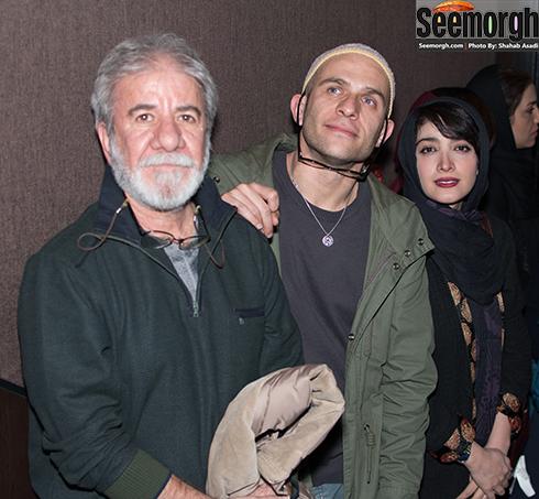 مینا ساداتی و همسرش بابک حمیدیان و مسعود کرامتی در اکران فیلم لاک قرمز