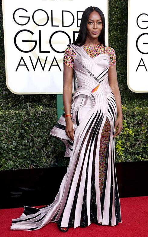 مدل لباس نائومی کمپبل Naomi Campbell در مراسم گلدن گلوب 2017