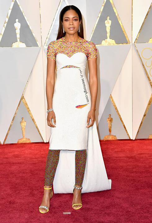 لباس نائومی هریس Naomie Harris طراحی شده توسط کلوین کلاین Calvin Klein در اسکار Oscar 2017