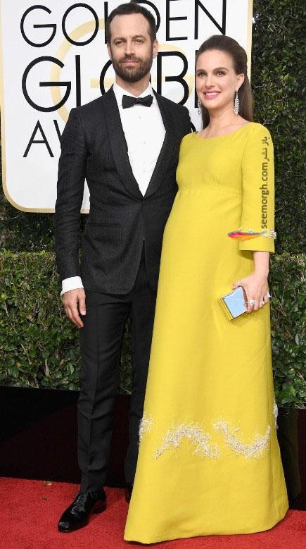ناتالی پورتمن و همسرش در گلدن گلوب 2017