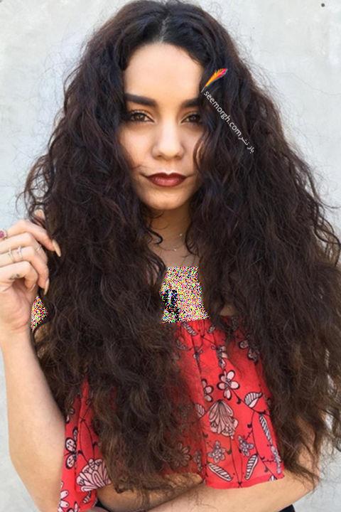 مدل مو فر با رنگ تیره به سبک ونسا هوجنز Vanessa Hudgens