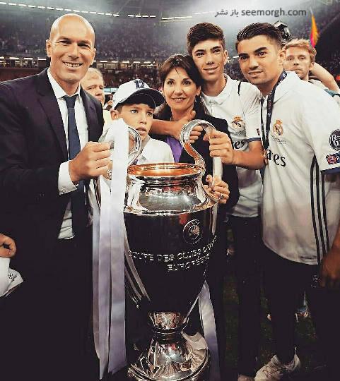 همسر و فرزندان زین الدین زیدان در جشن قهرمانی رئال مادرید