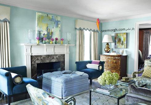 دکوراسیون اتاق نشیمن با رنگ آبی