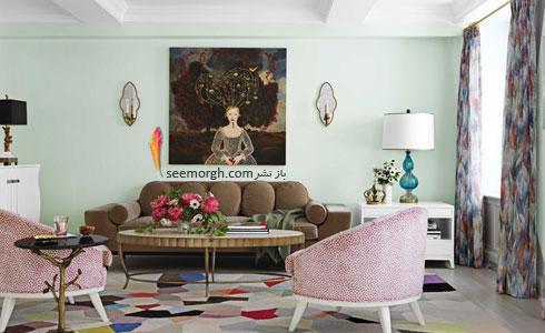 دکوراسیون اتاق نشیمن با رنگ سبز نعنایی