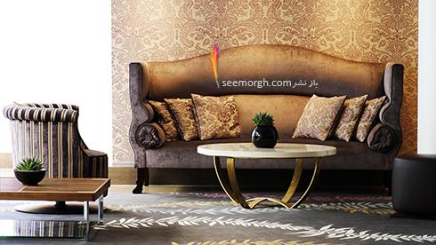 ست کردن کاغذ دیوای با مبلمان شزلون قهوه ای طلایی - عکس شماره 9
