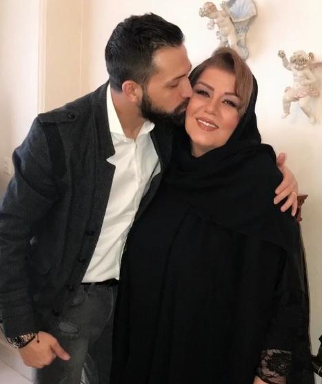 بوسه محسن افشانی بر صورت مادر زنش/ تصویر