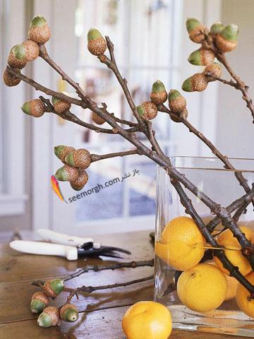 برای تزیین میز ناهارخوری از میوه های بلوط استفاده کنید