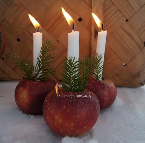 تزیین شمع برای شام شب یلدا با میوه های یلدایی - عکس شماره 13