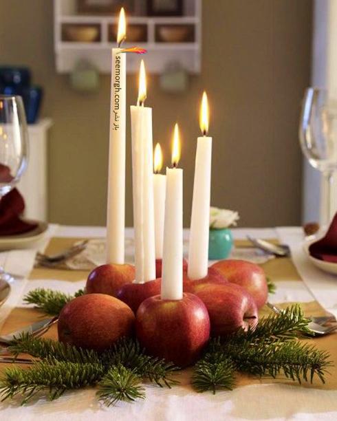 تزیین شمع برای شام شب یلدا با میوه های یلدایی - عکس شماره 12