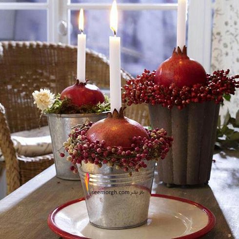 تزیین شمع برای شام شب یلدا با میوه های یلدایی - عکس شماره 11