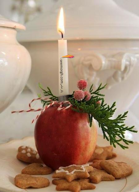 تزیین شمع برای شام شب یلدا با میوه های یلدایی - عکس شماره 9