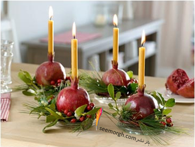 تزیین شمع برای شام شب یلدا با میوه های یلدایی - عکس شماره 8