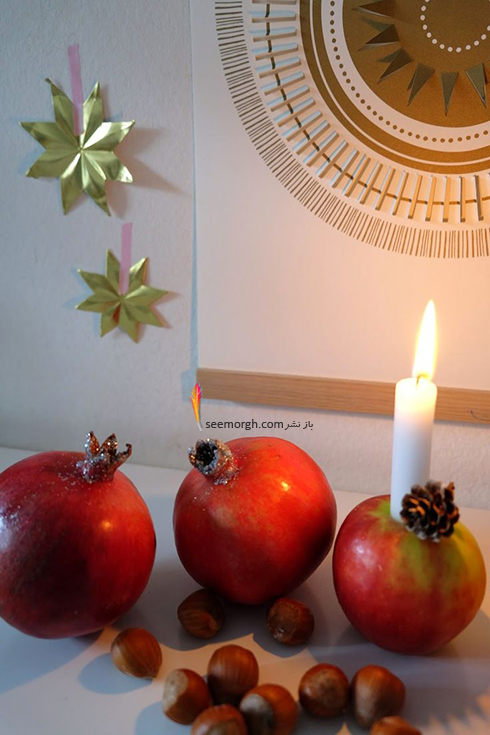 تزیین شمع برای شام شب یلدا با میوه های یلدایی - عکس شماره 7