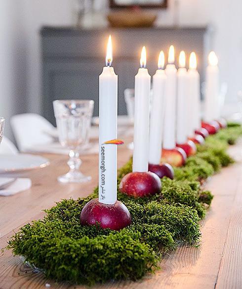 تزیین شمع برای شام شب یلدا با میوه های یلدایی - عکس شماره 4