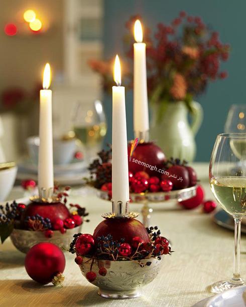 تزیین شمع برای شام شب یلدا با میوه های یلدایی - عکس شماره 3