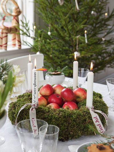 تزیین شمع برای شام شب یلدا با میوه های یلدایی - عکس شماره 2