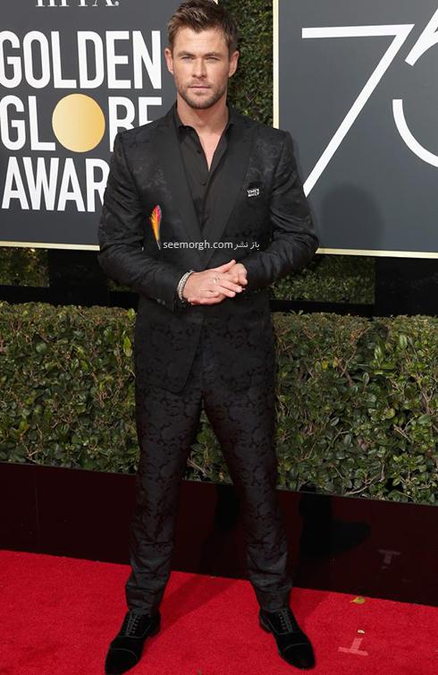 مدل کت و شلوار کريس همسورث Chris Hemsworth در مراسم گلدن گلوب 2018