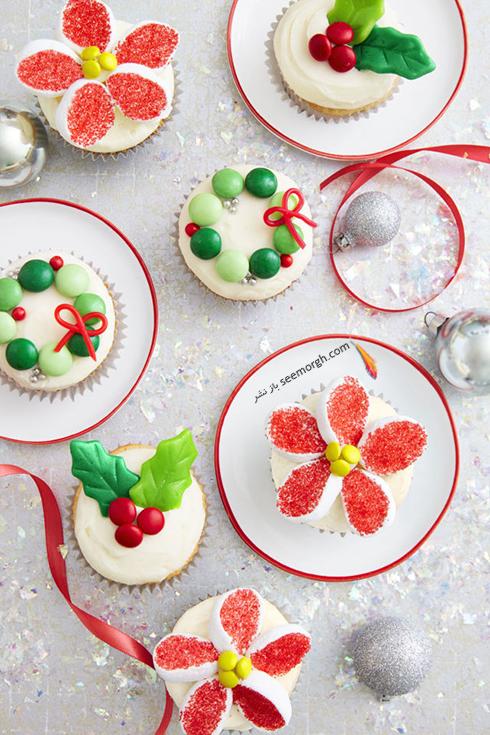 طرز تهیه کاپ کیک کریسمس با تزیین شکلات M&M