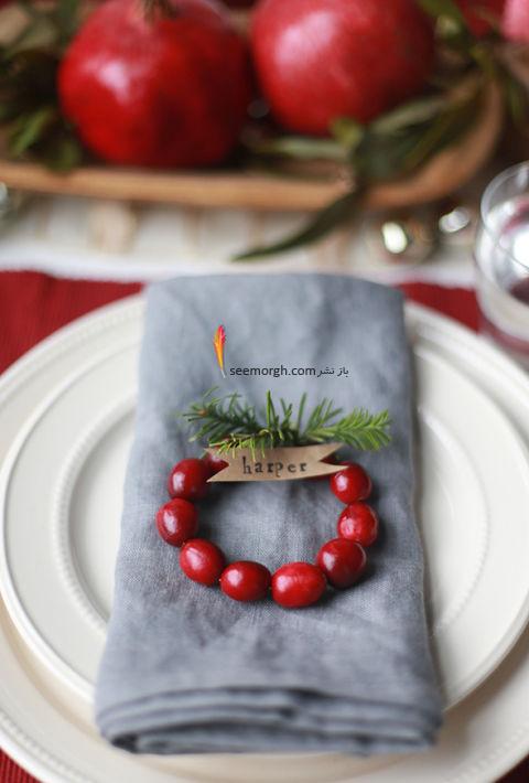 تزیین میز شام کریسمس با میوه های مینیاتوری