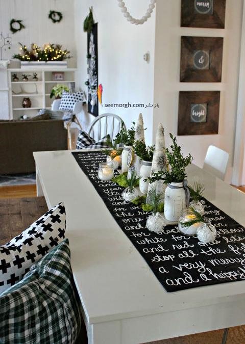 تزیین میز شام کریسمس با تم سیاه و سفید