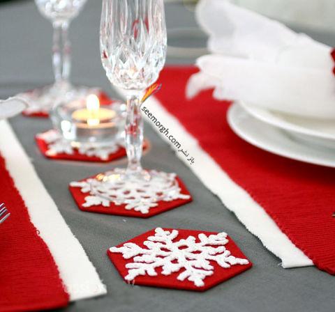 تزیین میز شام کریسمس با زیرلیوانی های کریسمسی نمدی