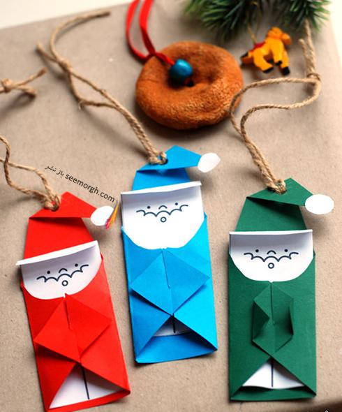 درست کردن بابانوئل برای تزیین درخت کریسمس,کریسمس,کادو کریسمس,تزیین کادو کریسمس,ایده هایی برای تزیین کادو کریسمس,