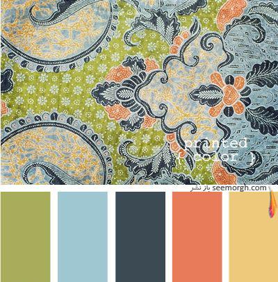 پرده برای ست کردن با فرش سبز فیروزه ای و مبلمان قهوه ای - عکس شماره 2