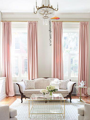 ست کردن فرش با ترکیب رنگی سورمه ای، سفید و نارنجی با پرده - عکس شماره 2
