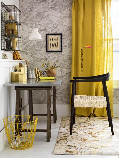 ست کردن فرش با ترکیب رنگی سورمه ای، سفید و نارنجی با پرده - عکس شماره 1