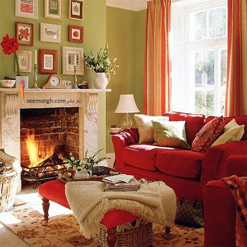 ست کردن فرش با ترکیب رنگی سورمه ای، سفید و نارنجی با پرده - عکس شماره 6