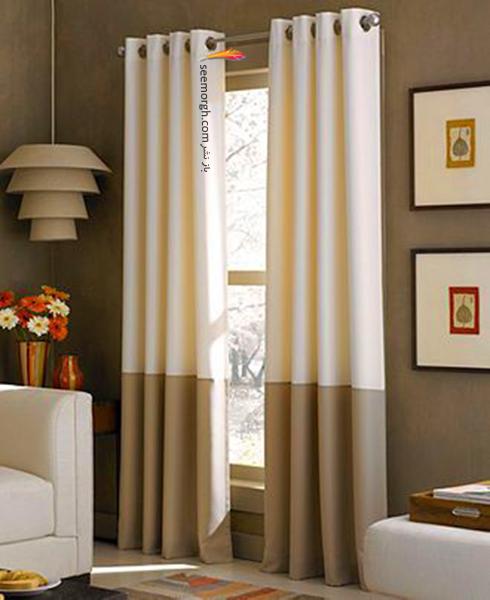 ست کردن فرش با ترکیب رنگی سورمه ای، سفید و نارنجی با پرده - عکس شماره 3
