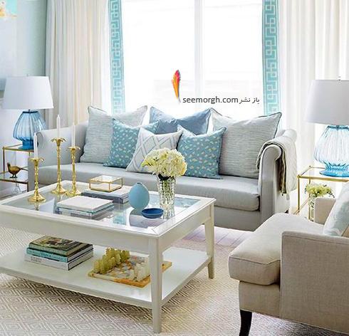 ست کردن فرش با ترکیب رنگی سورمه ای، سفید و نارنجی با پرده - عکس شماره 7