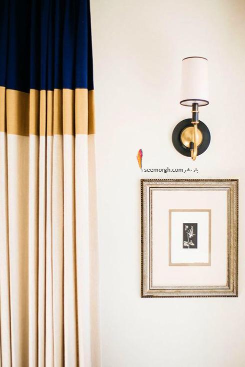 ست کردن فرش با ترکیب رنگی سورمه ای، سفید و نارنجی با پرده - عکس شماره 9