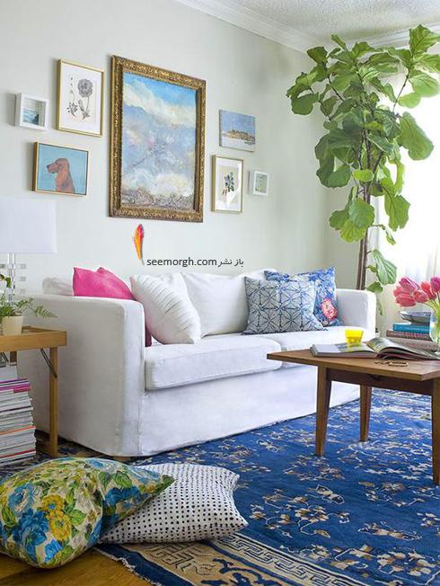 ست کردن فرش سورمه ای، سفید و نارنجی با مبلمان - عکس شماره 1