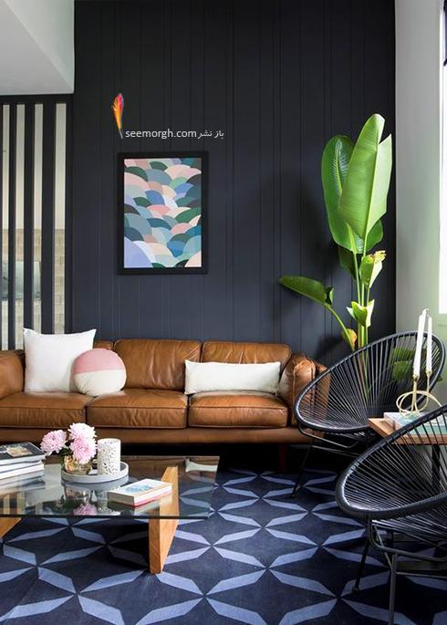 ست کردن فرش با ترکیب رنگی سورمه ای، سفید و نارنجی با مبلمان - عکس شماره 4