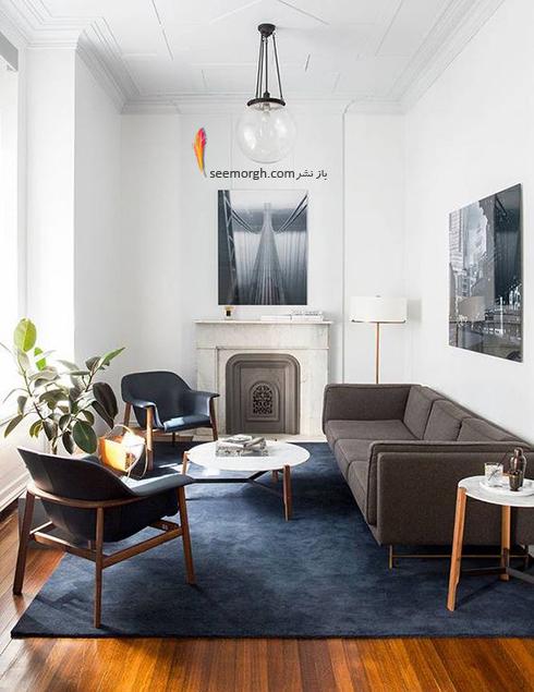 ست کردن فرش با ترکیب رنگی سورمه ای، سفید و نارنجی با مبلمان - عکس شماره 6