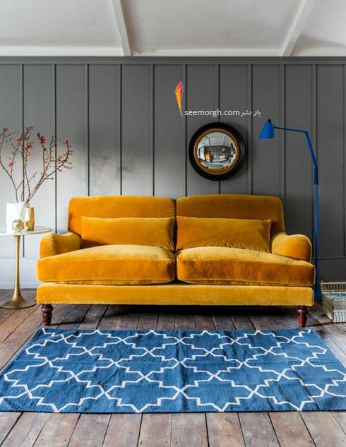 ست کردن فرش با ترکیب رنگی سورمه ای، سفید و نارنجی با مبلمان - عکس شماره 7